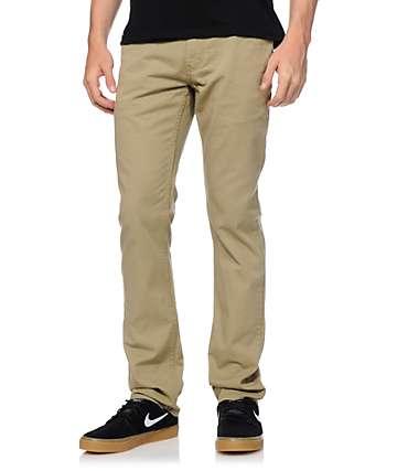 Free World Messenger 5 bolsillo tela asargada pantalones caquis