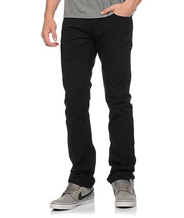 Free World Messenger 5 bolsillo tela asargada pantalones negros