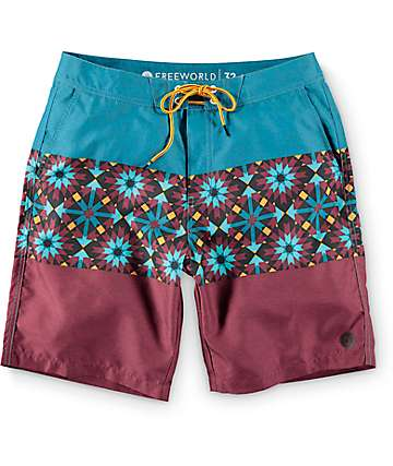 "Free World Paddle 20"" board shorts en borgoño y verde azulado"