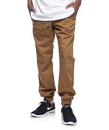 Free World Remy pantalones jogger en color tabaco
