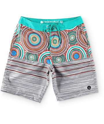 "Free World Sands Circle Grey and Teal 20"" Board Shorts"