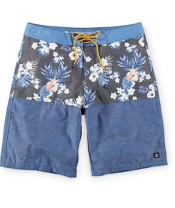 Free World Shortboard board shorts en azul floral 20""