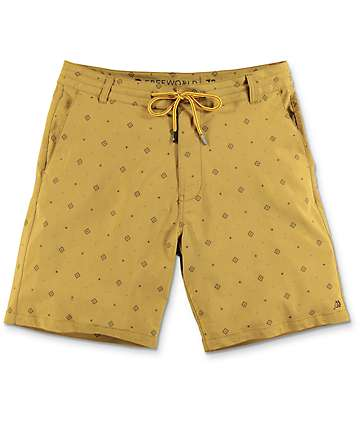 Free World Springtide Tobacco Stretch Hybrid Shorts