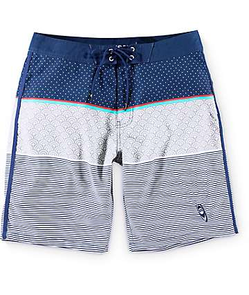"Free World Wake Zone board shorts 20"" en gris y azul marino"