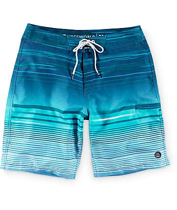 Free World Wave board shorts azul de lineas 20""