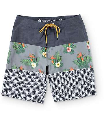 Freeworld Offshore Navy Grey and Floral Board Shorts