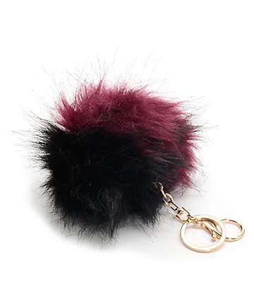 Fuzzy Black & Burgundy Bag Charm