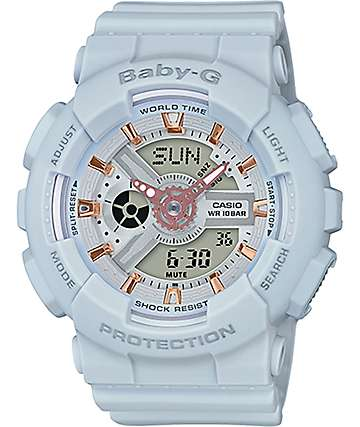 G-Shock Baby-G BA110GA-8A Light Blue & Rose Gold Watch