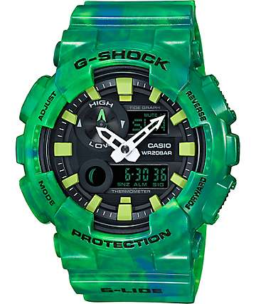 G-Shock G-Lide GAX100MB-3A Green Marble Analog & Digital Watch