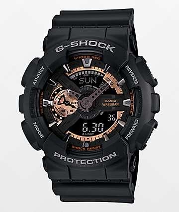 G-Shock GA-110RG-1A reloj análogo en negro y color oro rosa
