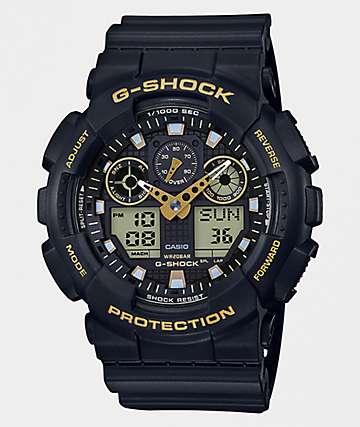G-Shock GA100GBX reloj en negro y color dorado