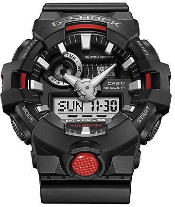 G-Shock GA700-1A Front Button Black & Red Analog Watch