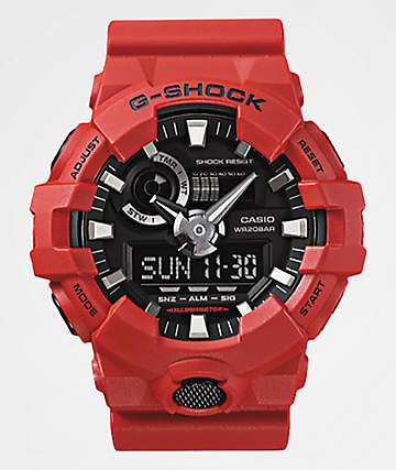 G-Shock GA700-4A Front Button Red Analog Watch