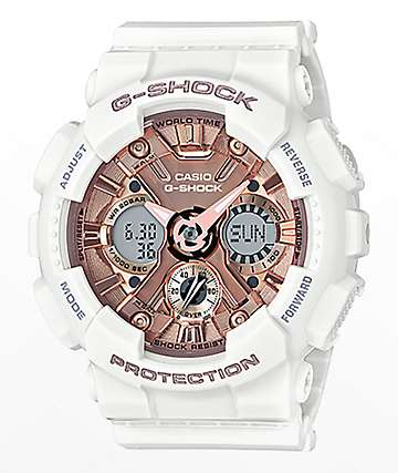 G-Shock GMAS120MF-7A White & Rose Gold Watch