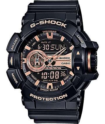 G-Shock Garish GA-400GB-1A4 reloj negro y oro rosa