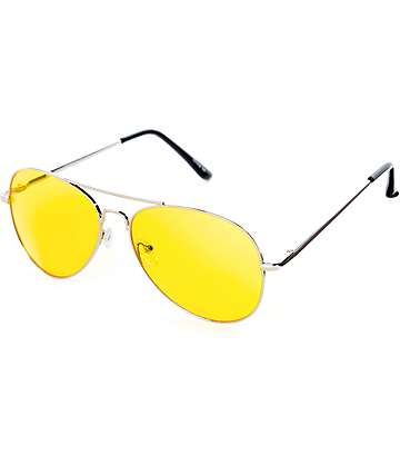 Gafas de sol aviador en colores plata y amarillo