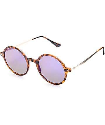 Gafas de sol redondeadas en morado y montura carey
