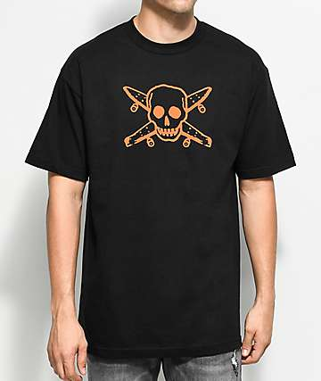 Girl Skate Pirate Black & Orange T-Shirt