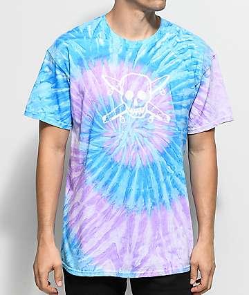 Girl Skate Pirate Blue & Purple Tie Dye T-Shirt