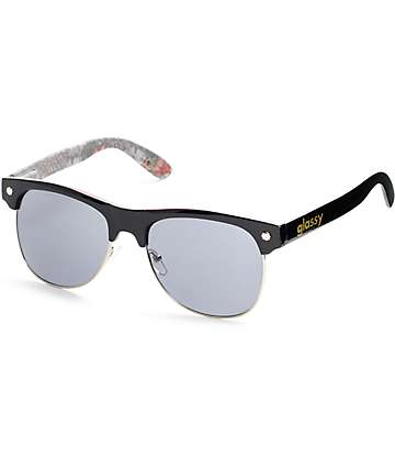 Glassy Shredder Black Floral Cheetah Sunglasses