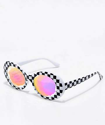 GloFX Clout Kaleidoscope White Checkered Glasses