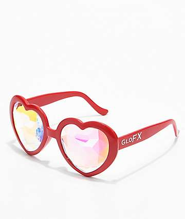 GloFX Heart Kaleidoscope Red Glasses