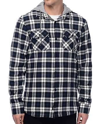 Globe Alford Thermal Navy & White Hooded Flannel Shirt