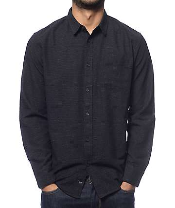 Globe Austin Dot Black Long Sleeve Button Up Shirt