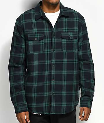 Globe Camden II Green & Black Sherpa Flannel Jacket