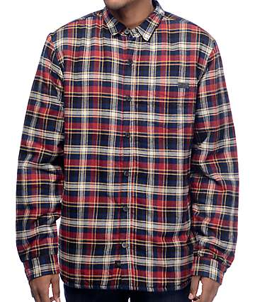 Globe Camden Navy & Red Sherpa Flannel Shirt