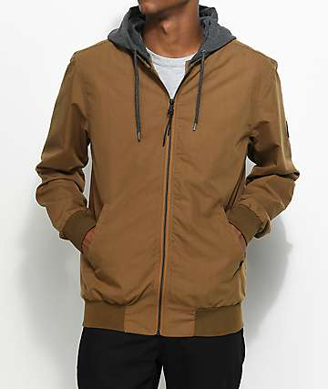 Globe Goodstock Dark Khaki Hooded Bomber Jacket