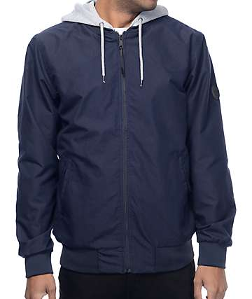 Globe Goodstock Navy & Grey Hooded Bomber Jacket