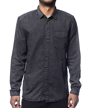 Globe Goodstock Vintage Black Long Sleeve Button Up Shirt