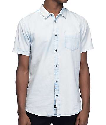 Globe Goodstock Vintage Blue Short Sleeve Button Up Shirt