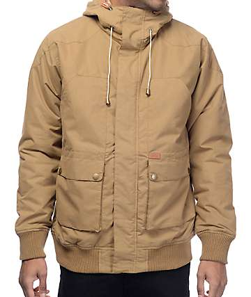 Globe Inkerman Khaki Hooded Bomber Jacket