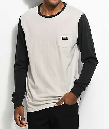 Globe Moonshine White & Black Long Sleeve Pocket T-Shirt