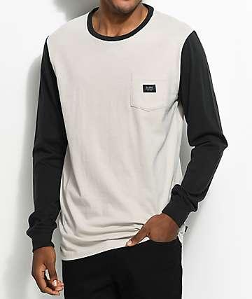 Globe Moonshine camiseta de manga larga con bolsillo en blanco y negro