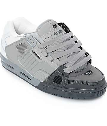 Globe Sabre Dark Grey, Grey & White Skate Shoes