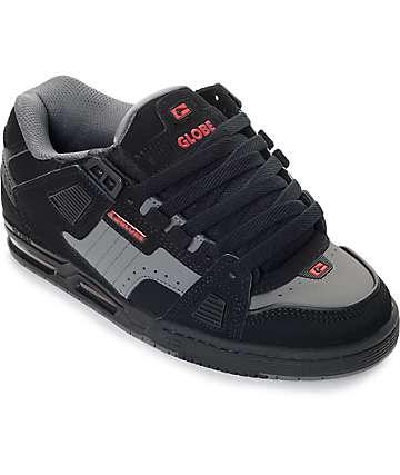 Globe Sabre zapatos de skate en negro, rojo y color plomo