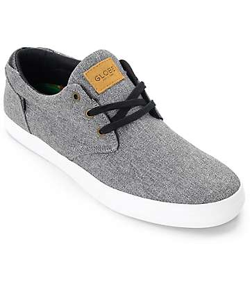 Globe Willow Black Chambray & White Skate Shoes
