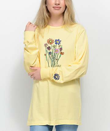 Gnarly Bouquet camiseta de manga larga en color amarillo