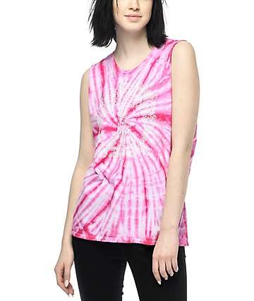 Gnarly Flower Power Pink Tie Dye Muscle Tank Top