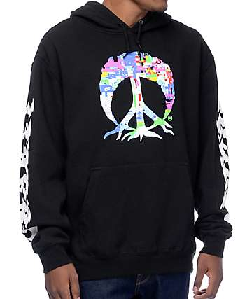 Gnarly Glitch Tree Black Hoodie