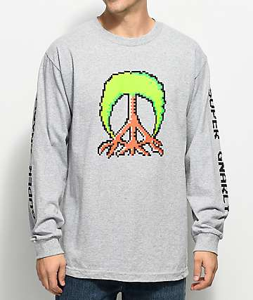 Gnarly Mario Tree Grey Long Sleeve T-Shirt