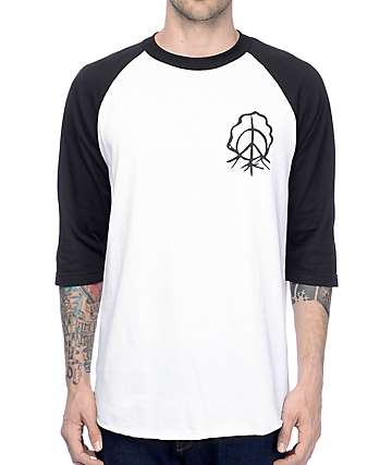 Gnarly Sharpie White & Black Raglan T-Shirt