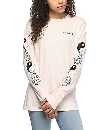 Gnarly Tubular Light Pink Long Sleeve T-Shirt