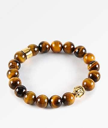 Gold Gods Buddha Tiger Eye Gemstone Bracelet