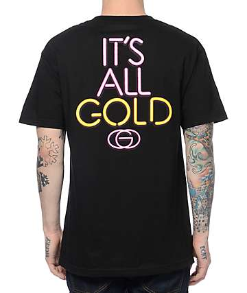Gold Wheels All Gold Black T-Shirt