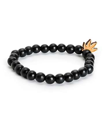 Goodwood NYC pulsera negra con hoja