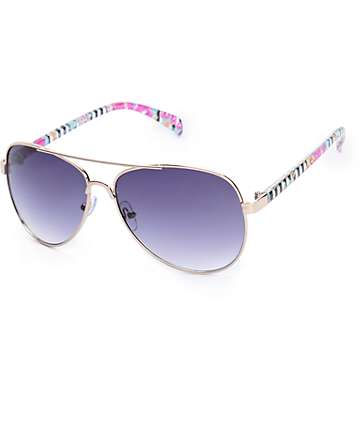 Grand Floral Stripe Aviator Sunglasses